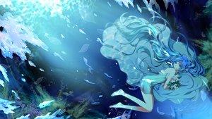 Rating: Safe Score: 103 Tags: barefoot blue_eyes blue_hair deep-sea_girl_(vocaloid) dress flowers hatsune_miku mariwai_(marireroy) underwater vocaloid water User: FormX