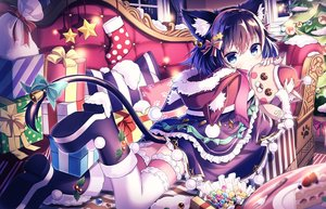 Rating: Safe Score: 63 Tags: animal_ears bell blue_eyes blue_hair blush boots bow cake candy catgirl christmas couch food fruit garter hug original satou_(3366_s) short_hair strawberry tail thighhighs User: RyuZU