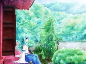 Rating: Safe Score: 22 Tags: akashio building forest green_hair japanese_clothes kochiya_sanae landscape long_hair miko purple_eyes scenic sky touhou tree User: Tensa