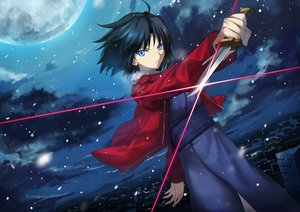 Rating: Safe Score: 51 Tags: aqua_eyes black_hair building city japanese_clothes kara_no_kyoukai kimono moon night ryougi_shiki short_hair sky snow stars sword tagme_(artist) weapon User: BattlequeenYume