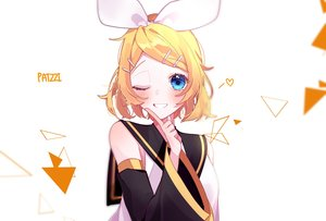 Rating: Safe Score: 34 Tags: aqua_eyes blonde_hair blush kagamine_rin patzzi short_hair signed vocaloid wink User: RyuZU