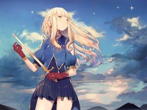 Rating: Safe Score: 129 Tags: blonde_hair dress gloves long_hair misoni_comi original sword weapon yellow_eyes User: Flandre93