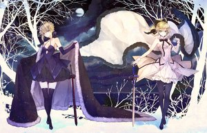 Rating: Safe Score: 150 Tags: artoria_pendragon_(all) blonde_hair bow breasts cape cleavage dress fate_(series) fate/stay_night fate/unlimited_codes hachini ribbons saber saber_alter saber_lily sword thighhighs tree weapon zettai_ryouiki User: Flandre93