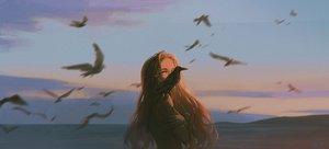 Rating: Safe Score: 49 Tags: alzi_xiaomi animal bird blonde_hair clouds long_hair nude original red_eyes scenic signed sunset User: mattiasc02