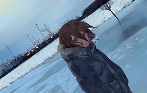 Rating: Safe Score: 24 Tags: blue_eyes brown_hair dark litra_(ltr0312) original short_hair sky snow User: RyuZU