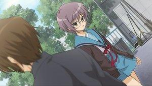 Rating: Safe Score: 24 Tags: blush brown_eyes brown_hair game_cg glasses koizumi_itsuki nagato_yuki purple_hair school_uniform short_hair suzumiya_haruhi_no_tsuisou suzumiya_haruhi_no_yuutsu tree User: SciFi