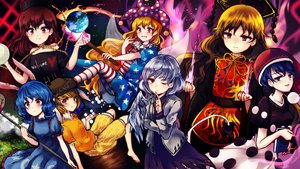 Rating: Safe Score: 49 Tags: blonde_hair blue_eyes blue_hair book brown_eyes brown_hair chain chinese_clothes choker clownpiece doremy_sweet dress earth fairy gray_hair hat hecatia_lapislazuli junko kishin_sagume long_hair magic pink_eyes planet red_eyes ribbons ringo_(touhou) seiran short_hair touhou uranaishi_(miraura) wings wink User: Flandre93