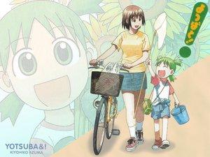 Rating: Safe Score: 6 Tags: ayase_fuuka azuma_kiyohiko bicycle koiwai_yotsuba yotsubato! User: Oyashiro-sama