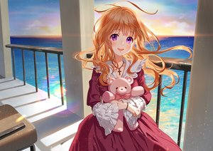 Rating: Safe Score: 59 Tags: cross lolita_fashion long_hair necklace oohhya orange_hair original purple_eyes sky teddy_bear water wristwear User: Dreista