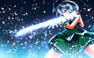 Rating: Safe Score: 115 Tags: blue_eyes bow gloves gray_hair konpaku_youmu nekominase petals skirt sword touhou weapon User: STORM