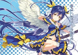 Rating: Safe Score: 29 Tags: blue_hair bow brown_eyes feathers long_hair love_live!_school_idol_project navel sonoda_umi tomiwo wings User: FormX