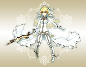 Rating: Safe Score: 109 Tags: blonde_hair dress fate/extra fate_(series) fate/stay_night green_eyes nero_claudius_(bride) nero_claudius_(fate) sword weapon User: Tensa