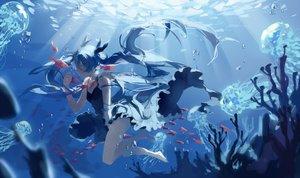 Rating: Safe Score: 93 Tags: animal barefoot bubbles deep-sea_girl_(vocaloid) dress fish hatsune_miku long_hair spencer_sais twintails underwater vocaloid water User: Flandre93
