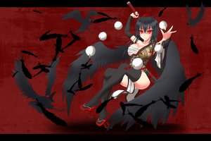 Rating: Safe Score: 82 Tags: animal bird black_hair breasts cleavage feathers gmot katana red red_eyes sarashi shameimaru_aya sword thighhighs touhou underwear weapon wings User: Septentrion_P