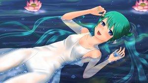 Rating: Safe Score: 36 Tags: aqua_hair blue_eyes flowers hatsune_miku vocaloid water wet yukimeg User: lenismine
