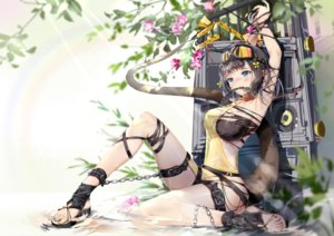 Rating: Safe Score: 85 Tags: aliasing arknights black_hair blush bodhi_wushushenghua bondage breasts chain cleavage eunectes_(arknights) flowers garter goggles tail User: BattlequeenYume