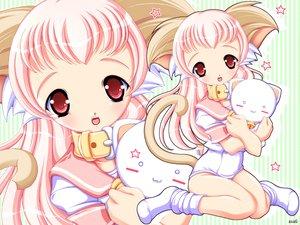 Rating: Safe Score: 9 Tags: animal animal_ears bell blush cat catgirl collar fang pink_hair red_eyes tail teddy_bear zoom_layer User: Oyashiro-sama