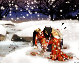 Rating: Safe Score: 8 Tags: black_hair blood japanese_clothes long_hair sky snow sword tagme_(artist) tree weapon winter User: Oyashiro-sama