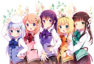Rating: Safe Score: 225 Tags: animal aqua_eyes blonde_hair blue_eyes blue_hair blush bow brown_hair gochuumon_wa_usagi_desu_ka? green_eyes group hoto_cocoa kafuu_chino kirima_sharo koi long_hair ponytail purple_eyes rabbit scan short_hair tedeza_rize tippy_(gochiusa) twintails ujimatsu_chiya waitress wink User: Wiresetc