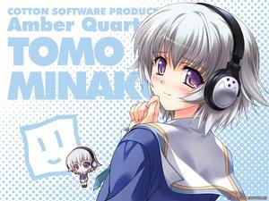 Rating: Safe Score: 7 Tags: amber_quartz chibi gray_hair headphones purple_eyes tomo_minakura User: rargy