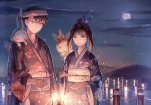 Rating: Safe Score: 79 Tags: brown_hair clouds fireworks haruka_(pokemon) headband japanese_clothes male moon mudkip night pink_eyes pokemon short_hair sky torchic water yukata yuuki_(pokemon) zicai_tang User: Maboroshi