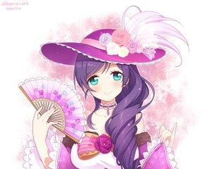 Rating: Safe Score: 64 Tags: aqua_eyes blush bow choker fan flowers hat long_hair love_live!_school_idol_project moorina necklace purple_hair rose signed toujou_nozomi User: otaku_emmy