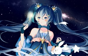 Rating: Safe Score: 27 Tags: aliasing blue_eyes blue_hair blush bunny dress fireworks gloves hatsune_miku night sky stars tagme_(artist) twintails vocaloid yuki_miku User: BattlequeenYume