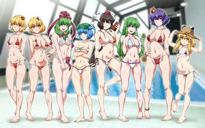 Rating: Safe Score: 77 Tags: aki_minoriko aki_shizuha aliasing barefoot bikini blonde_hair blue_hair breast_hold breasts brown_eyes brown_hair cleavage green_eyes green_hair group kagiyama_hina kawashiro_nitori kochiya_sanae loli long_hair moriya_suwako navel ootsuki_wataru pool shameimaru_aya short_hair swimsuit touhou yasaka_kanako User: FormX
