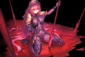 Rating: Safe Score: 142 Tags: bodysuit breasts duan_henglong fate/grand_order fate_(series) headdress long_hair purple_hair red_eyes scathach_(fate/grand_order) skintight spear weapon User: RyuZU