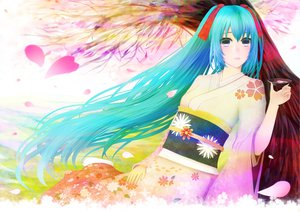 Rating: Safe Score: 20 Tags: aqua_hair green_eyes hatsune_miku japanese_clothes kimono long_hair petals tree twintails vocaloid User: HawthorneKitty