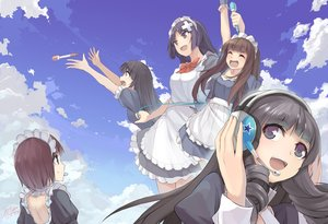 Rating: Safe Score: 67 Tags: black_hair bow brown_eyes brown_hair clouds dress group headdress headphones long_hair maid microphone original short_hair signed sky x-boy User: luckyluna