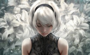 Rating: Safe Score: 127 Tags: close flowers headband nier:_automata nixeu polychromatic realistic short_hair white_hair yorha_unit_no._2_type_b User: BattlequeenYume