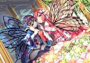 Rating: Safe Score: 66 Tags: 2girls cropped flowers nyamal original pointed_ears purple_eyes purple_hair wings User: BattlequeenYume