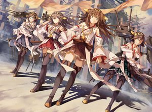 Rating: Safe Score: 197 Tags: anthropomorphism boots bow brown_eyes brown_hair building glasses group haruna_(kancolle) headband hiei_(kancolle) japanese_clothes kantai_collection kirishima_(kancolle) kongou_(kancolle) long_hair miko neko_(yanshoujie) pantyhose short_hair skirt thighhighs wink User: FormX