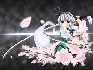 Rating: Safe Score: 48 Tags: katana konpaku_youmu myon sword touhou weapon User: Oyashiro-sama