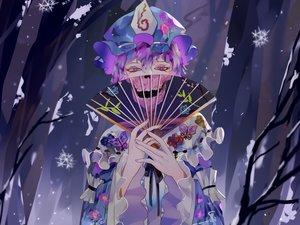 Rating: Safe Score: 50 Tags: fan forest hat japanese_clothes kimono lolita_fashion naufaldreamer purple_eyes purple_hair saigyouji_yuyuko short_hair skull touhou tree User: RyuZU