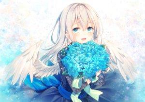Rating: Safe Score: 60 Tags: aqua_eyes blonde_hair bow dress feathers flowers long_hair original ribbons toosaka_asagi wings User: BattlequeenYume