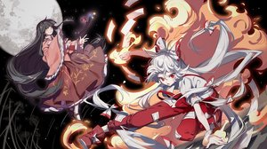 Rating: Safe Score: 21 Tags: 2girls black_hair dress fire fujiwara_no_mokou houraisan_kaguya long_hair magic moon night ponytail red_eyes sky stars tagme_(artist) touhou white_hair yellow_eyes User: BattlequeenYume