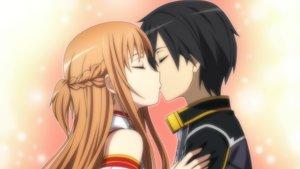 Rating: Safe Score: 31 Tags: black_hair braids brown_hair game_cg kirigaya_kazuto kiss male short_hair sword_art_online tagme_(artist) yuuki_asuna User: RyuZU