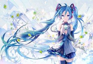Rating: Safe Score: 139 Tags: blue_eyes blue_hair flowers hatsune_miku hatsune_miku_(vocaloid3) headphones ikushima long_hair skirt thighhighs tie twintails vocaloid User: opai