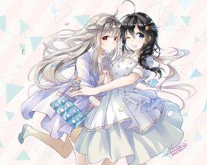 Rating: Safe Score: 38 Tags: 2girls aliasing black_hair blue_eyes braids dress gray_hair kantai_collection long_hair paper ponytail red_eyes shigure_(kancolle) signed tagme_(artist) wink yuudachi_(kancolle) User: otaku_emmy