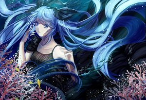 Rating: Safe Score: 65 Tags: animal blue_eyes blue_hair bubbles deep-sea_girl_(vocaloid) dress facai fish hatsune_miku long_hair twintails underwater vocaloid water User: FormX