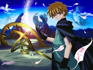 Rating: Safe Score: 9 Tags: all_male brown_eyes brown_hair clamp clouds feathers gloves logo male short_hair sky staff syaoran tsubasa_reservoir_chronicle User: Oyashiro-sama