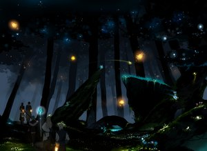 Rating: Safe Score: 147 Tags: forest hiyokomame_dx night pixiv_fantasia staff stars tree User: FormX