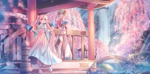 Rating: Safe Score: 88 Tags: 2girls aqua_eyes blush cherry_blossoms fan flowers green_hair gumi hatsune_miku japanese_clothes long_hair pink_hair red_eyes sakakidani sakura_miku short_hair tree twintails umbrella vocaloid water waterfall User: BattlequeenYume