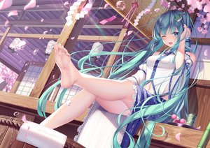 Rating: Safe Score: 177 Tags: barefoot building cherry_blossoms cosplay flowers hatsune_miku japanese_clothes kochiya_sanae pupupu touhou vocaloid User: BattlequeenYume