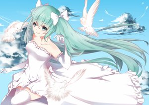 Rating: Safe Score: 50 Tags: animal aqua_eyes aqua_hair bird clouds dress elbow_gloves gloves hatsune_miku long_hair sky thighhighs twintails vocaloid User: luckyluna