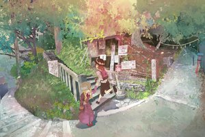 Rating: Safe Score: 94 Tags: 2girls hat maribel_han shinta_(hmmuk) stairs touhou tree usami_renko User: FormX