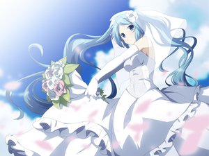 Rating: Safe Score: 105 Tags: blue_eyes blue_hair dress elbow_gloves flowers gloves hatsune_miku long_hair twintails vocaloid wedding_dress yuzuki_kei User: SciFi