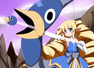 Rating: Safe Score: 53 Tags: archer_(disgaea) blonde_hair blue_eyes blush bow_(weapon) disgaea dress gloves long_hair pointed_ears prinny twintails weapon User: Katsumi
